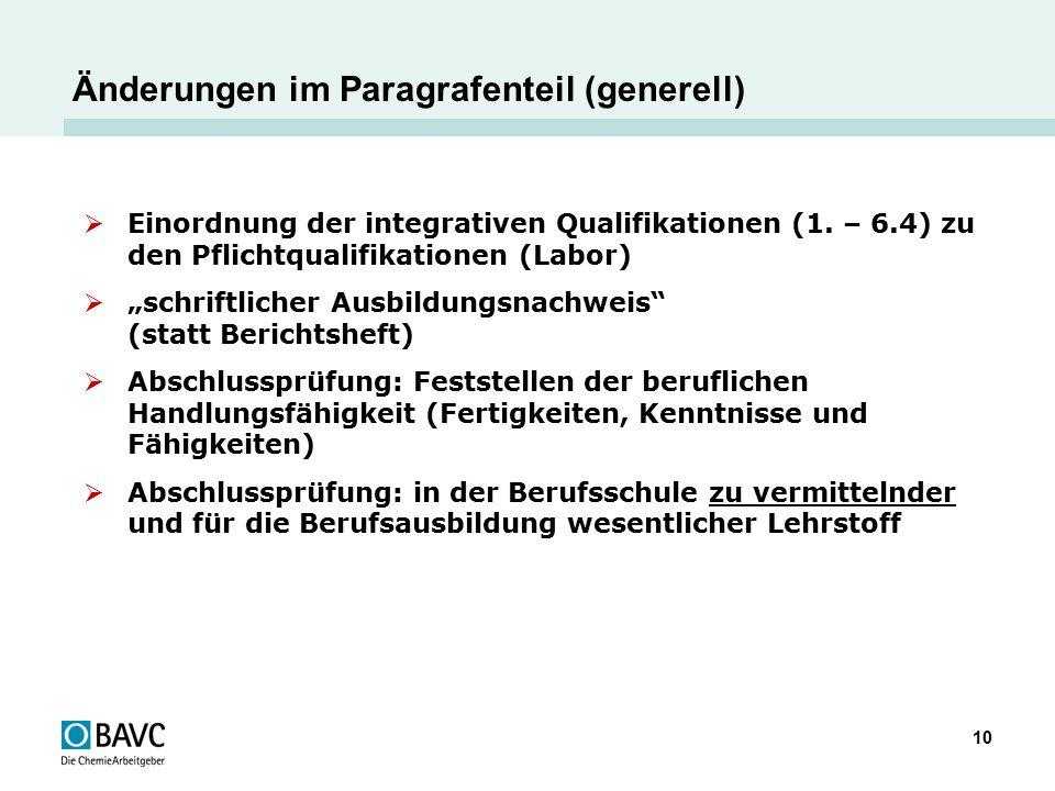 """10 Änderungen im Paragrafenteil (generell)  Einordnung der integrativen Qualifikationen (1. – 6.4) zu den Pflichtqualifikationen (Labor)  """"schriftli"""