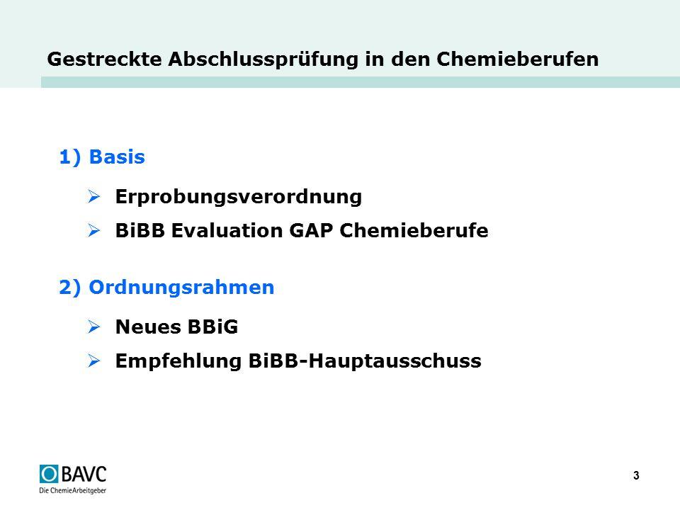 3 Gestreckte Abschlussprüfung in den Chemieberufen 1) Basis  Erprobungsverordnung  BiBB Evaluation GAP Chemieberufe 2) Ordnungsrahmen  Neues BBiG 