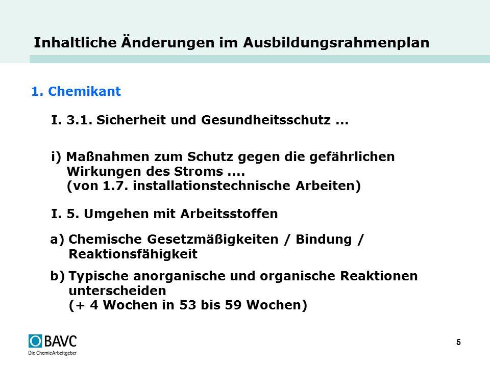 5 Inhaltliche Änderungen im Ausbildungsrahmenplan 1. Chemikant I. 3.1. Sicherheit und Gesundheitsschutz... i) Maßnahmen zum Schutz gegen die gefährlic