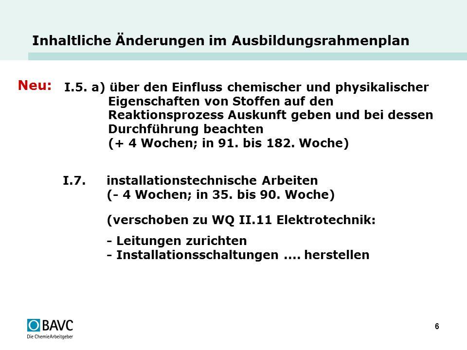 6 Inhaltliche Änderungen im Ausbildungsrahmenplan Neu: I.5. a) über den Einfluss chemischer und physikalischer Eigenschaften von Stoffen auf den Reakt