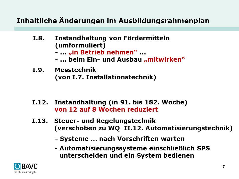 """7 Inhaltliche Änderungen im Ausbildungsrahmenplan I.8. Instandhaltung von Fördermitteln (umformuliert) -... """"in Betrieb nehmen""""... -... beim Ein- und"""