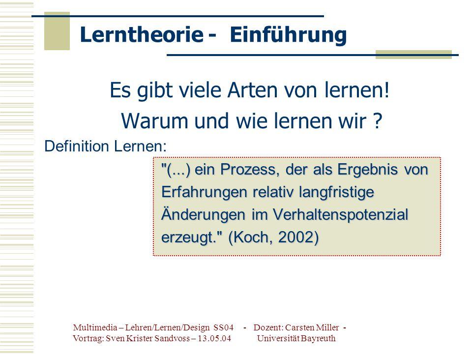 Multimedia – Lehren/Lernen/Design SS04 - Dozent: Carsten Miller - Vortrag: Sven Krister Sandvoss – 13.05.04 Universität Bayreuth Lerntheorie - Einführung Es gibt viele Arten von lernen.