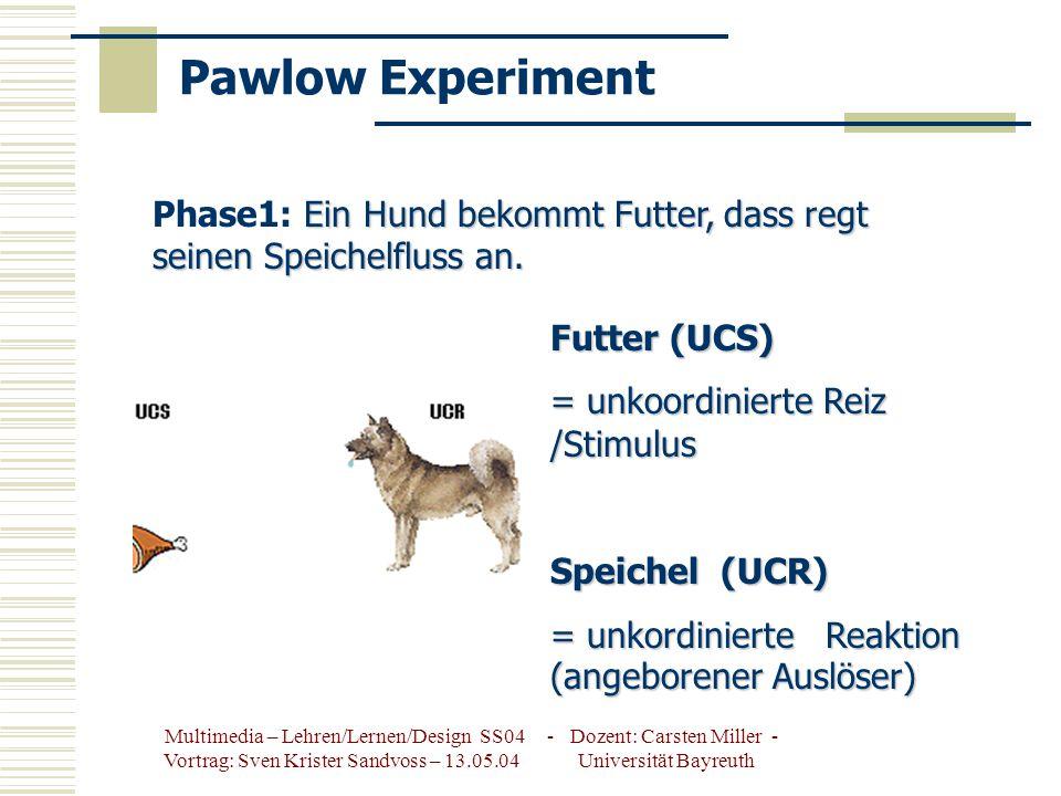 Multimedia – Lehren/Lernen/Design SS04 - Dozent: Carsten Miller - Vortrag: Sven Krister Sandvoss – 13.05.04 Universität Bayreuth Pawlow Experiment Ein Hund bekommt Futter, dass regt seinen Speichelfluss an.