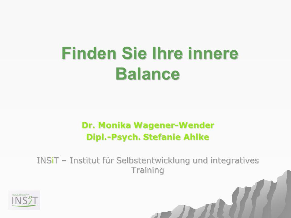 Finden Sie Ihre innere Balance Finden Sie Ihre innere Balance Dr. Monika Wagener-Wender Dipl.-Psych. Stefanie Ahlke INSiT – Institut für Selbstentwick