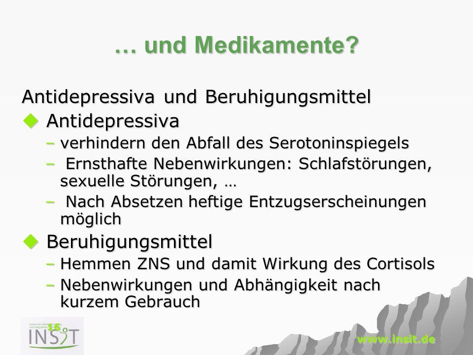 16 www.insit.de … und Medikamente? Antidepressiva und Beruhigungsmittel  Antidepressiva –verhindern den Abfall des Serotoninspiegels – Ernsthafte Neb