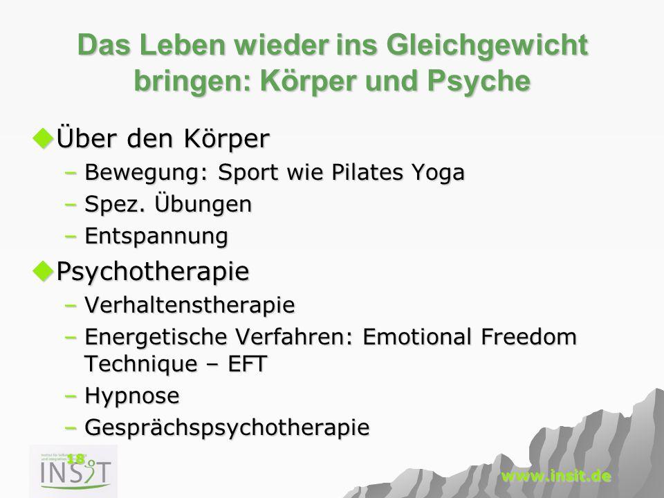 18 www.insit.de Das Leben wieder ins Gleichgewicht bringen: Körper und Psyche  Über den Körper –Bewegung: Sport wie Pilates Yoga –Spez. Übungen –Ents
