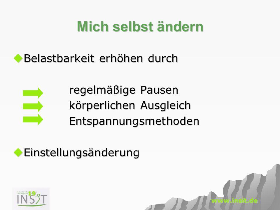 19 www.insit.de Mich selbst ändern  Belastbarkeit erhöhen durch regelmäßige Pausen körperlichen Ausgleich Entspannungsmethoden  Einstellungsänderung