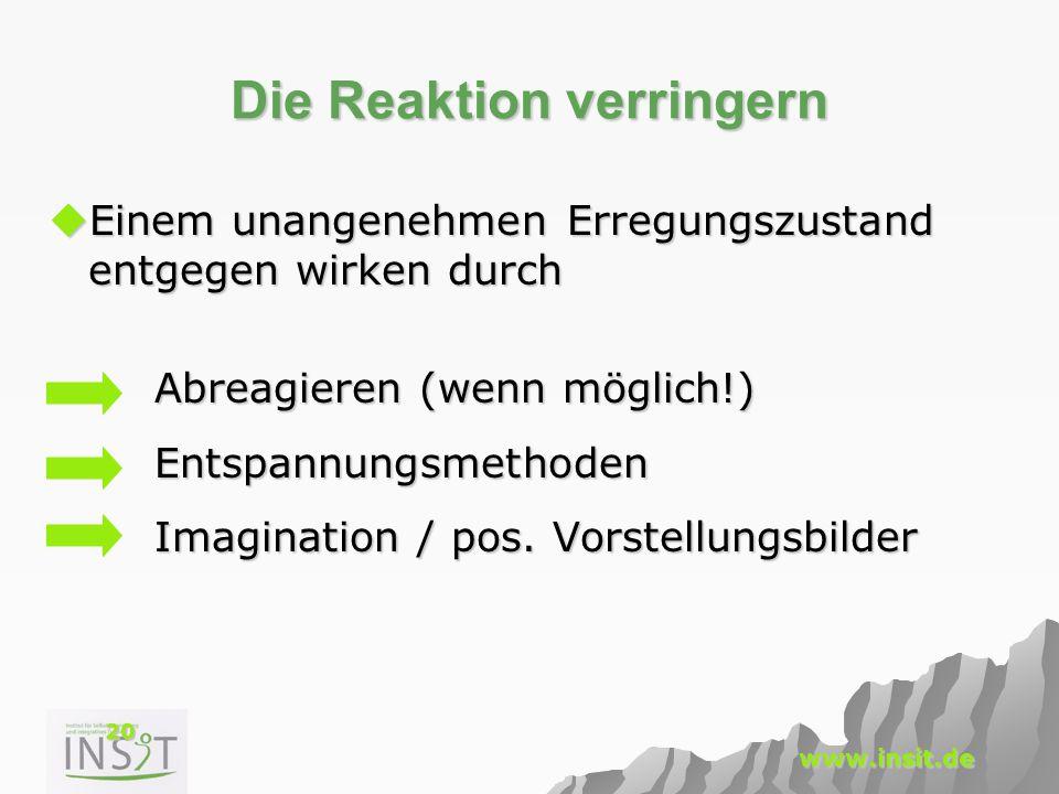 20 www.insit.de Die Reaktion verringern  Einem unangenehmen Erregungszustand entgegen wirken durch Abreagieren (wenn möglich!) Entspannungsmethoden I