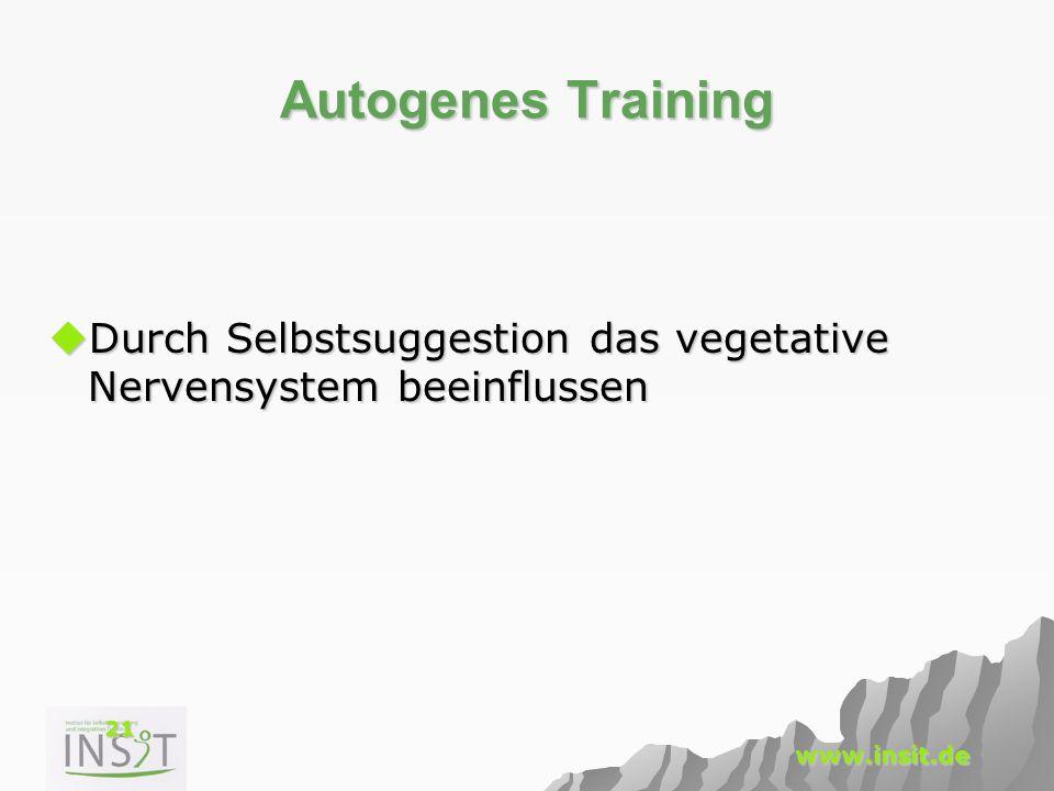 21 www.insit.de Autogenes Training  Durch Selbstsuggestion das vegetative Nervensystem beeinflussen