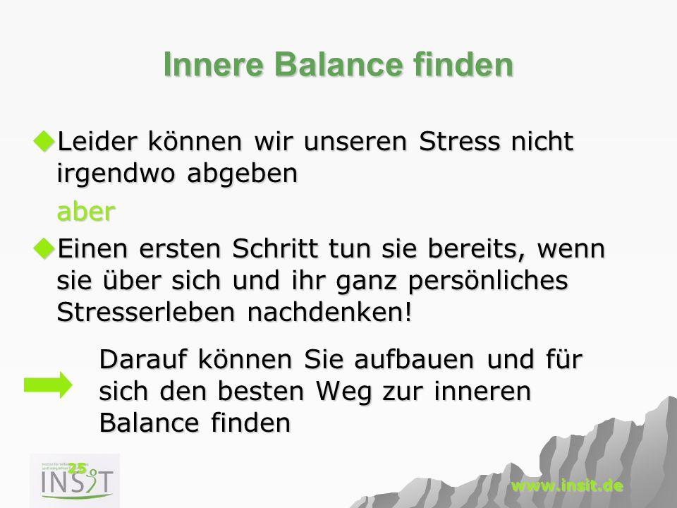 25 www.insit.de Innere Balance finden  Leider können wir unseren Stress nicht irgendwo abgeben aber  Einen ersten Schritt tun sie bereits, wenn sie