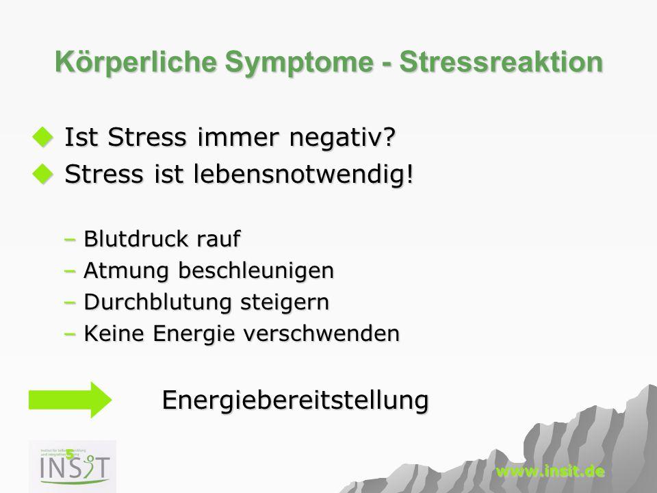 5 www.insit.de Körperliche Symptome - Stressreaktion  Ist Stress immer negativ?  Stress ist lebensnotwendig! –Blutdruck rauf –Atmung beschleunigen –