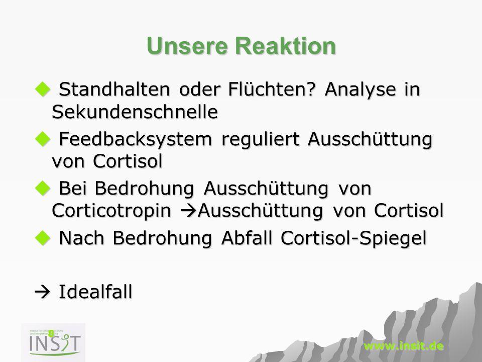 8 www.insit.de Unsere Reaktion  Standhalten oder Flüchten? Analyse in Sekundenschnelle  Feedbacksystem reguliert Ausschüttung von Cortisol  Bei Bed