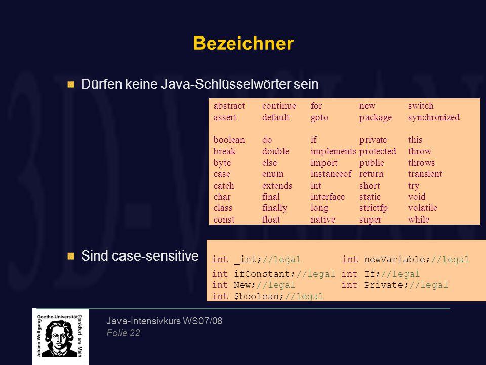 Java-Intensivkurs WS07/08 Folie 22 Bezeichner Dürfen keine Java-Schlüsselwörter sein Sind case-sensitive abstractcontinuefornewswitch assertdefaultgot