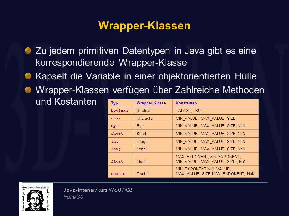 Java-Intensivkurs WS07/08 Folie 30 Wrapper-Klassen Zu jedem primitiven Datentypen in Java gibt es eine korrespondierende Wrapper-Klasse Kapselt die Variable in einer objektorientierten Hülle Wrapper-Klassen verfügen über Zahlreiche Methoden und Kostanten TypWrapper-KlasseKonstanten boolean BooleanFALASE, TRUE char CharacterMIN_VALUE, MAX_VALUE, SIZE byte ByteMIN_VALUE, MAX_VALUE, SIZE, NaN short ShortMIN_VALUE, MAX_VALUE, SIZE, NaN int IntegerMIN_VALUE, MAX_VALUE, SIZE, NaN long LongMIN_VALUE, MAX_VALUE, SIZE, NaN float Float MAX_EXPONENT,MIN_EXPONENT, MIN_VALUE, MAX_VALUE, SIZE, NaN double Double MIN_EXPONENT,MIN_VALUE, MAX_VALUE, SIZE,MAX_EXPONENT, NaN