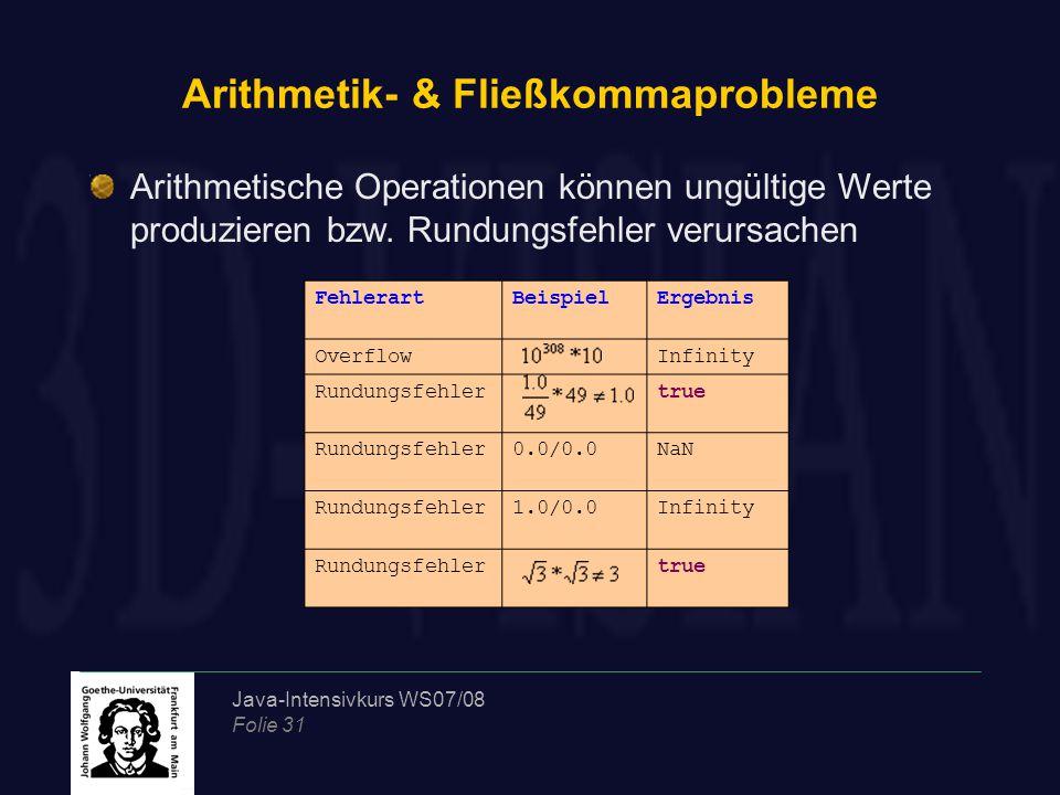 Java-Intensivkurs WS07/08 Folie 31 Arithmetik- & Fließkommaprobleme FehlerartBeispielErgebnis OverflowInfinity Rundungsfehlertrue Rundungsfehler0.0/0.0NaN Rundungsfehler1.0/0.0Infinity Rundungsfehlertrue Arithmetische Operationen können ungültige Werte produzieren bzw.