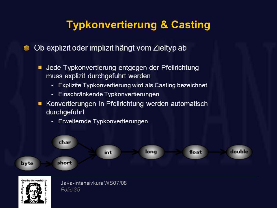 Java-Intensivkurs WS07/08 Folie 35 Typkonvertierung & Casting Ob explizit oder implizit hängt vom Zieltyp ab Jede Typkonvertierung entgegen der Pfeilrichtung muss explizit durchgeführt werden -Explizite Typkonvertierung wird als Casting bezeichnet -Einschränkende Typkonvertierungen Konvertierungen in Pfeilrichtung werden automatisch durchgeführt -Erweiternde Typkonvertierungen