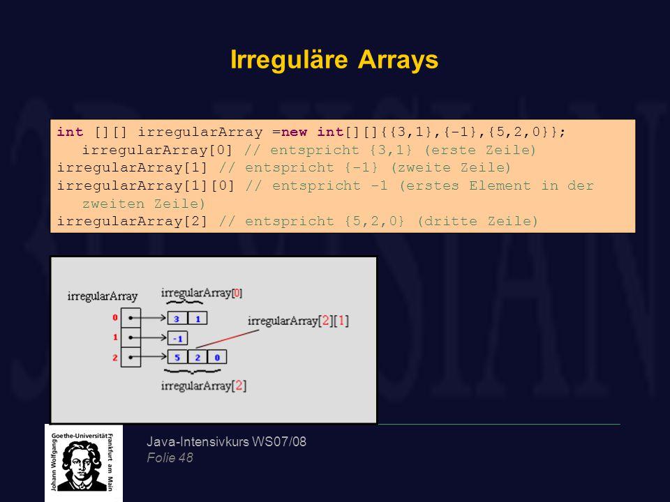 Java-Intensivkurs WS07/08 Folie 48 Irreguläre Arrays int [][] irregularArray =new int[][]{{3,1},{-1},{5,2,0}}; irregularArray[0] // entspricht {3,1} (erste Zeile) irregularArray[1] // entspricht {-1} (zweite Zeile) irregularArray[1][0] // entspricht -1 (erstes Element in der zweiten Zeile) irregularArray[2] // entspricht {5,2,0} (dritte Zeile)