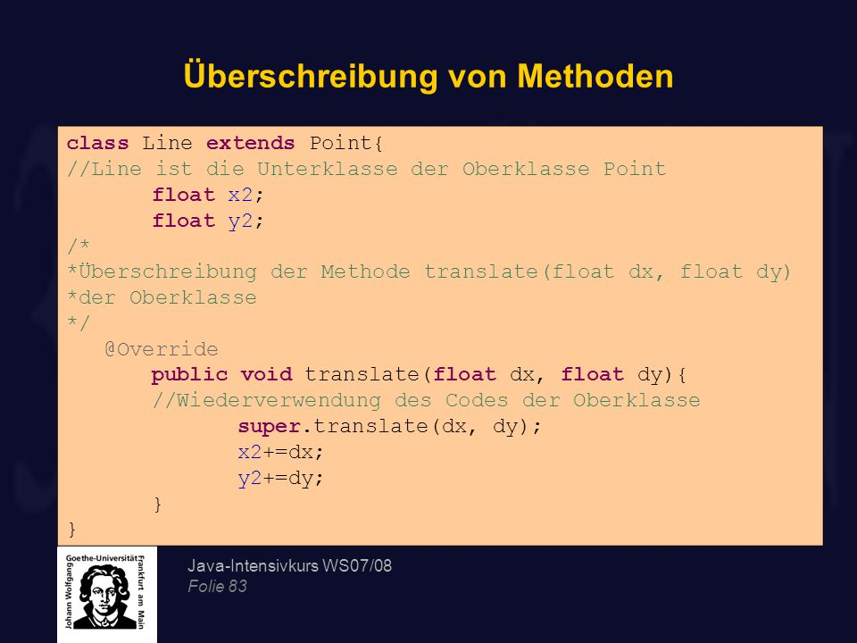 Java-Intensivkurs WS07/08 Folie 83 Überschreibung von Methoden class Line extends Point{ //Line ist die Unterklasse der Oberklasse Point float x2; float y2; /* *Überschreibung der Methode translate(float dx, float dy) *der Oberklasse */ @Override public void translate(float dx, float dy){ //Wiederverwendung des Codes der Oberklasse super.translate(dx, dy); x2+=dx; y2+=dy; }