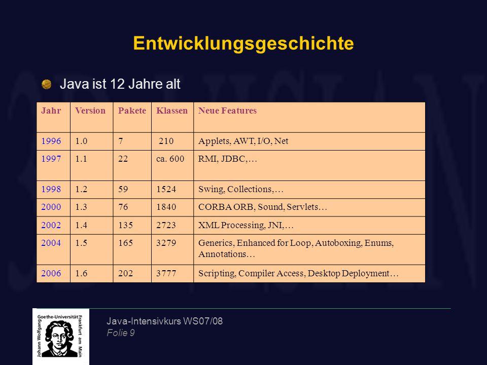 Java-Intensivkurs WS07/08 Folie 9 Entwicklungsgeschichte Java ist 12 Jahre alt JahrVersionPaketeKlassenNeue Features 19961.07 210Applets, AWT, I/O, Ne