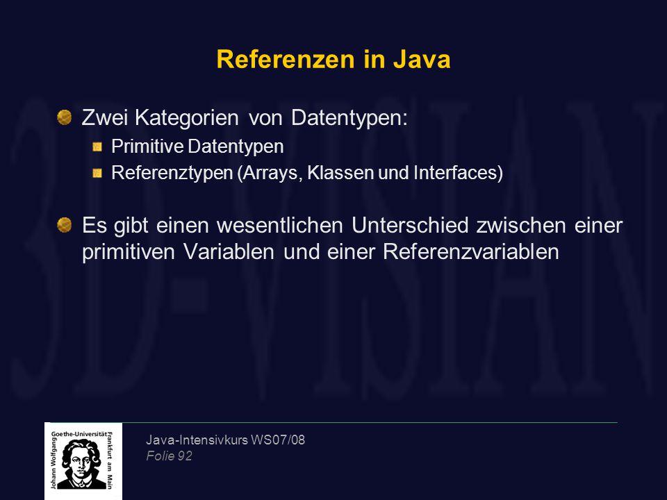 Java-Intensivkurs WS07/08 Folie 92 Referenzen in Java Zwei Kategorien von Datentypen: Primitive Datentypen Referenztypen (Arrays, Klassen und Interfaces) Es gibt einen wesentlichen Unterschied zwischen einer primitiven Variablen und einer Referenzvariablen