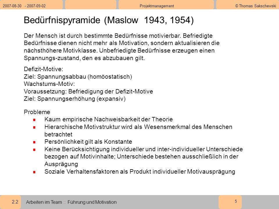 2.2 2007-08-30 - 2007-09-02Projektmanagement© Thomas Sakschewski Arbeiten im Team :: Führung und Motivation 5 Bedürfnispyramide (Maslow 1943, 1954) Der Mensch ist durch bestimmte Bedürfnisse motivierbar.
