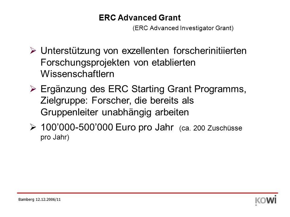 Bamberg 12.12.2006/11   Unterstützung von exzellenten forscherinitiierten Forschungsprojekten von etablierten Wissenschaftlern   Ergänzung des ERC Starting Grant Programms, Zielgruppe: Forscher, die bereits als Gruppenleiter unabhängig arbeiten   100'000-500'000 Euro pro Jahr (ca.