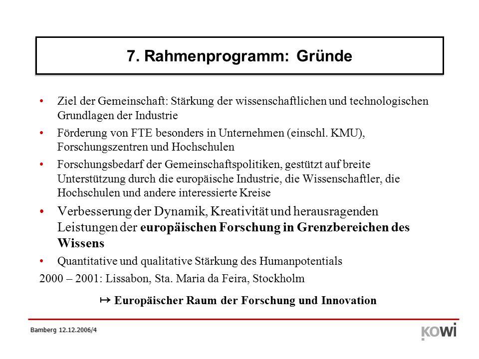 Bamberg 12.12.2006/25 Begutachtung - ERC Panel Struktur