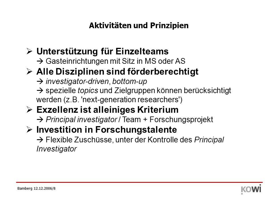 Bamberg 12.12.2006/8   Unterstützung für Einzelteams  Gasteinrichtungen mit Sitz in MS oder AS   Alle Disziplinen sind förderberechtigt  investigator-driven, bottom-up  spezielle topics und Zielgruppen können berücksichtigt werden (z.B.