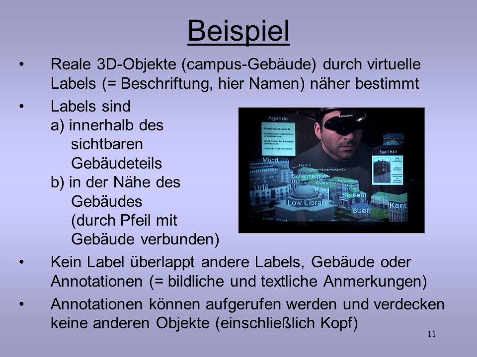 11 Beispiel Reale 3D-Objekte (campus-Gebäude) durch virtuelle Labels (= Beschriftung, hier Namen) näher bestimmt Labels sind a) innerhalb des sichtbar