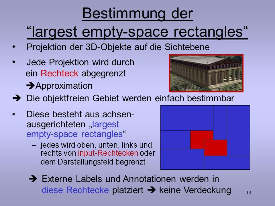 """14 Bestimmung der """"largest empty-space rectangles""""  Die objektfreien Gebiet werden einfach bestimmbar Diese besteht aus achsen- ausgerichteten """"large"""