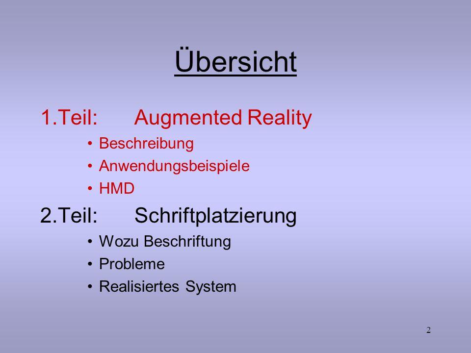 2 Übersicht 1.Teil:Augmented Reality Beschreibung Anwendungsbeispiele HMD 2.Teil:Schriftplatzierung Wozu Beschriftung Probleme Realisiertes System