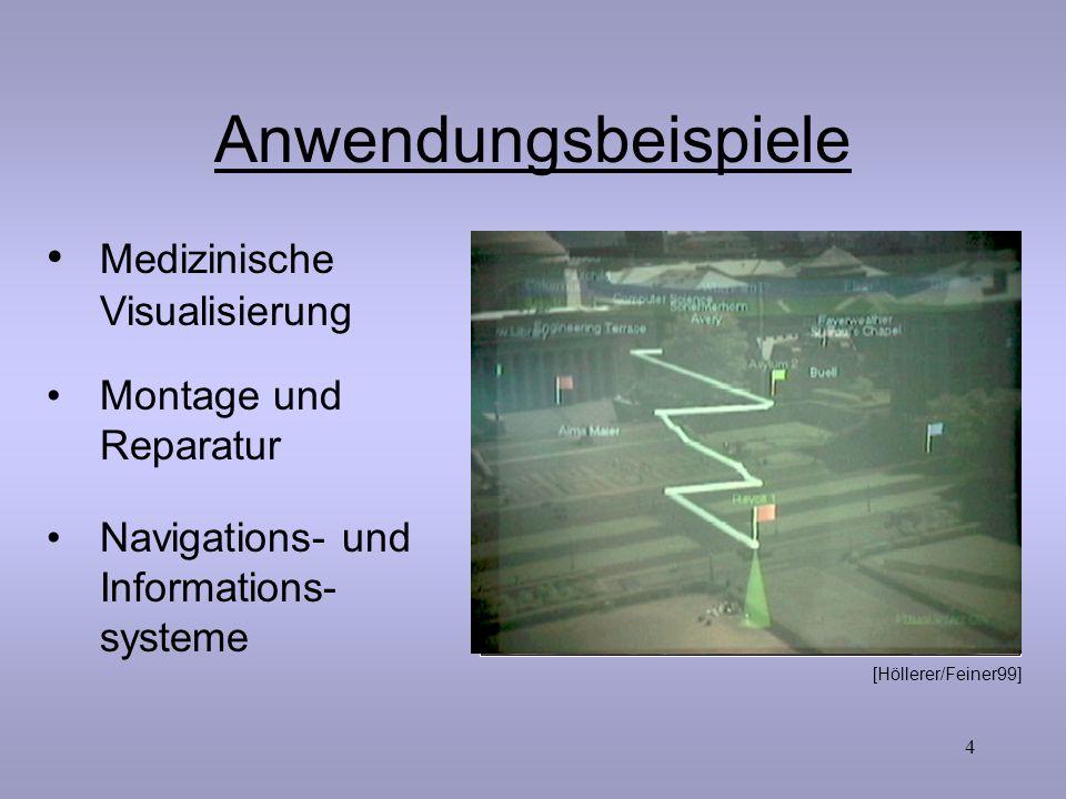 4 Anwendungsbeispiele Montage und Reparatur Navigations- und Informations- systeme Medizinische Visualisierung Seminar Geoinfo WS 01/02 S.Mesenholl [A