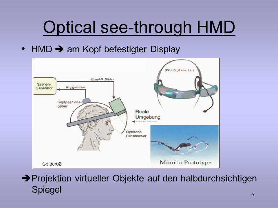 5 Optical see-through HMD  Projektion virtueller Objekte auf den halbdurchsichtigen Spiegel HMD  am Kopf befestigter Display Geiger02