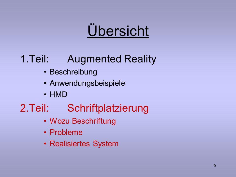 6 Übersicht 1.Teil:Augmented Reality Beschreibung Anwendungsbeispiele HMD 2.Teil:Schriftplatzierung Wozu Beschriftung Probleme Realisiertes System