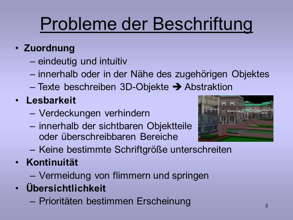 8 Probleme der Beschriftung Lesbarkeit –Verdeckungen verhindern –innerhalb der sichtbaren Objektteile oder überschreibbaren Bereiche –Keine bestimmte