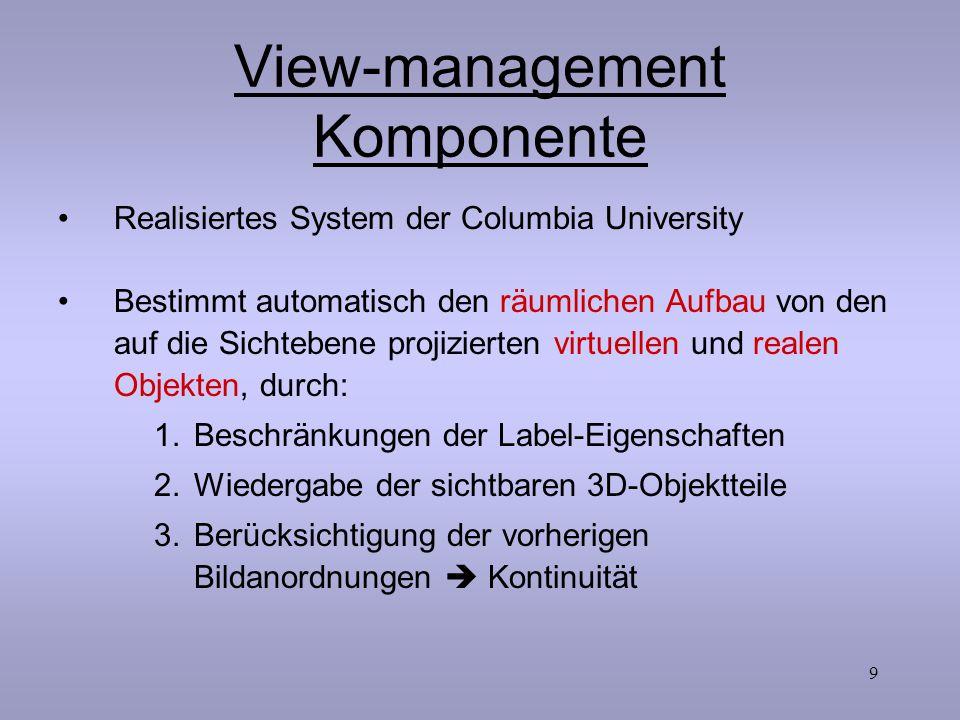 9 View-management Komponente Realisiertes System der Columbia University Bestimmt automatisch den räumlichen Aufbau von den auf die Sichtebene projizi