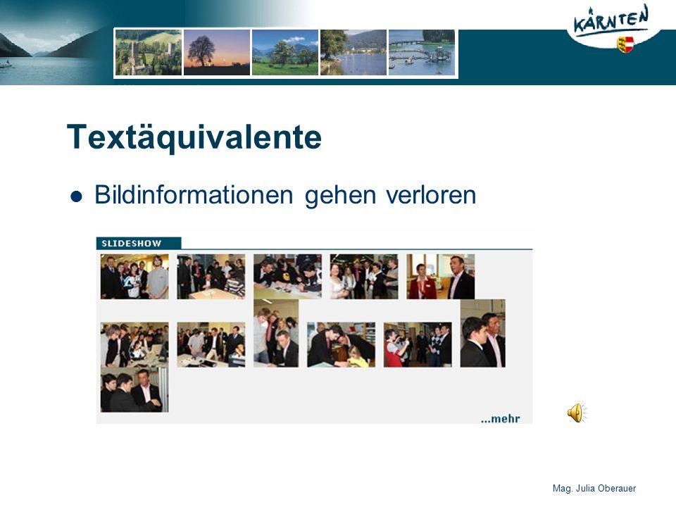 Mag. Julia Oberauer Textäquivalente Bildinformationen gehen verloren
