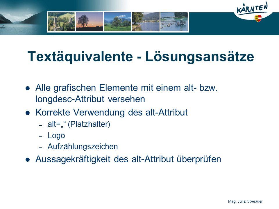 Mag.Julia Oberauer Textäquivalente - Lösungsansätze Alle grafischen Elemente mit einem alt- bzw.