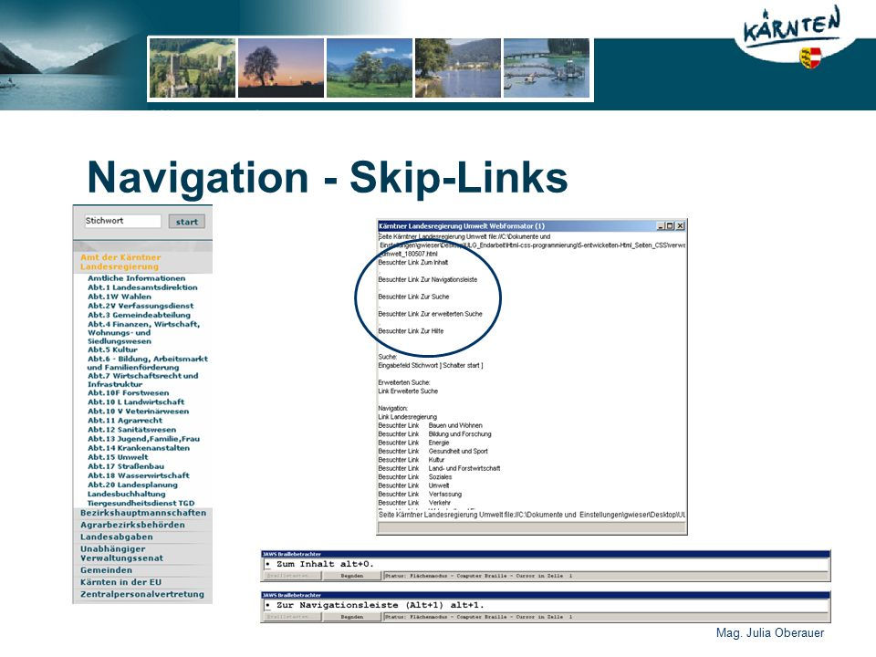 Mag. Julia Oberauer Navigation - Skip-Links