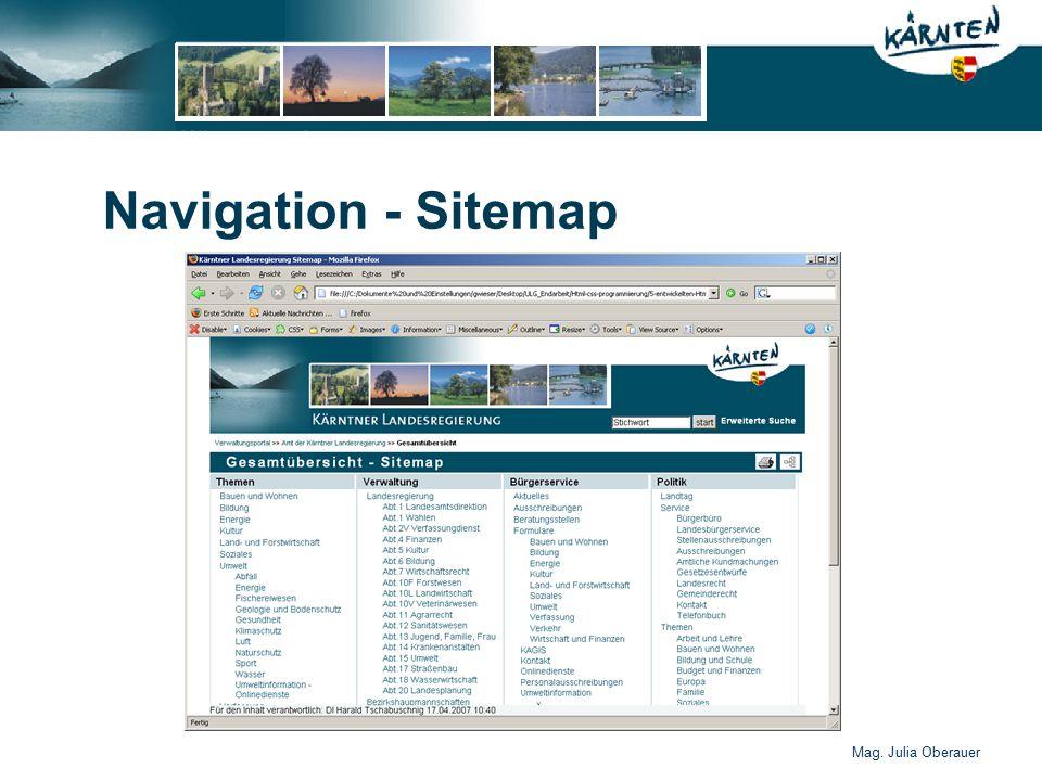 Mag. Julia Oberauer Navigation - Sitemap