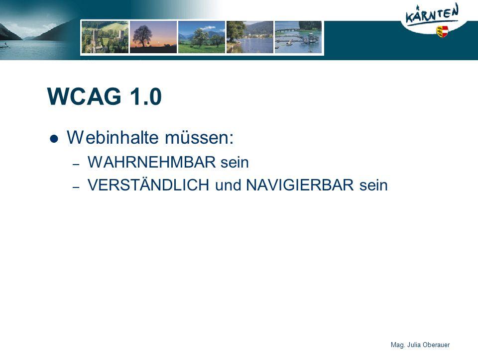 Mag. Julia Oberauer WCAG 1.0 Webinhalte müssen: – WAHRNEHMBAR sein – VERSTÄNDLICH und NAVIGIERBAR sein