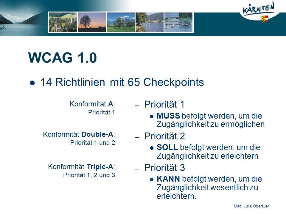 Mag. Julia Oberauer WCAG 1.0 14 Richtlinien mit 65 Checkpoints – Priorität 1 MUSS befolgt werden, um die Zugänglichkeit zu ermöglichen – Priorität 2 S