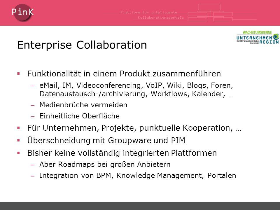Enterprise Collaboration  Funktionalität in einem Produkt zusammenführen – eMail, IM, Videoconferencing, VoIP, Wiki, Blogs, Foren, Datenaustausch-/archivierung, Workflows, Kalender, … – Medienbrüche vermeiden – Einheitliche Oberfläche  Für Unternehmen, Projekte, punktuelle Kooperation, …  Überschneidung mit Groupware und PIM  Bisher keine vollständig integrierten Plattformen – Aber Roadmaps bei großen Anbietern – Integration von BPM, Knowledge Management, Portalen