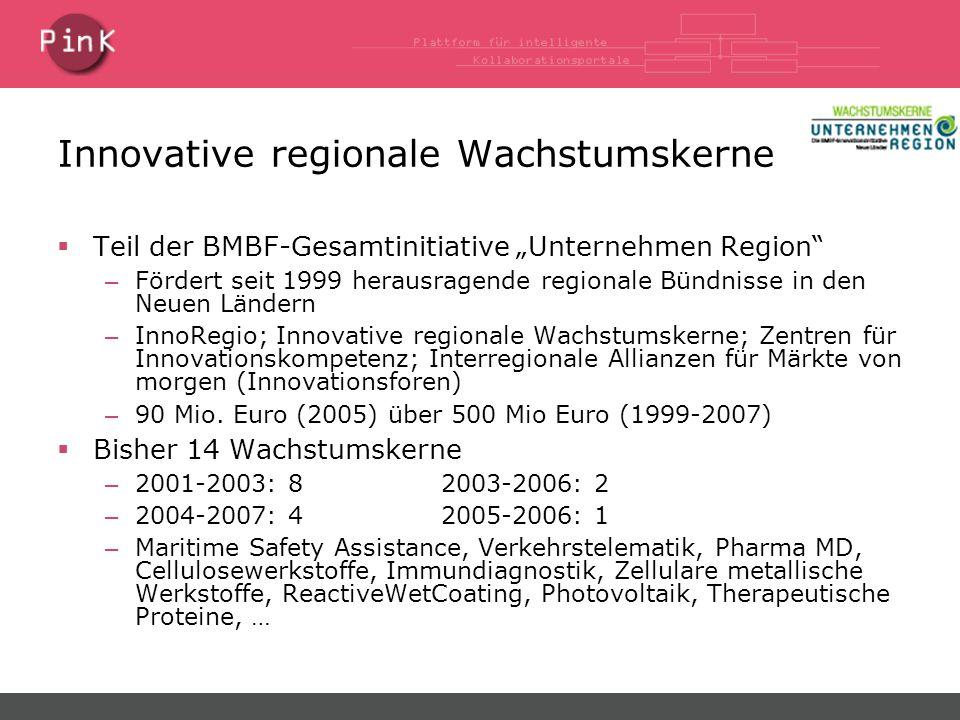 """Innovative regionale Wachstumskerne  Teil der BMBF-Gesamtinitiative """"Unternehmen Region – Fördert seit 1999 herausragende regionale Bündnisse in den Neuen Ländern – InnoRegio; Innovative regionale Wachstumskerne; Zentren für Innovationskompetenz; Interregionale Allianzen für Märkte von morgen (Innovationsforen) – 90 Mio."""