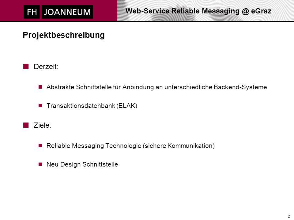 Web-Service Reliable Messaging @ eGraz 2 Projektbeschreibung Derzeit:  Abstrakte Schnittstelle für Anbindung an unterschiedliche Backend-Systeme  Tr