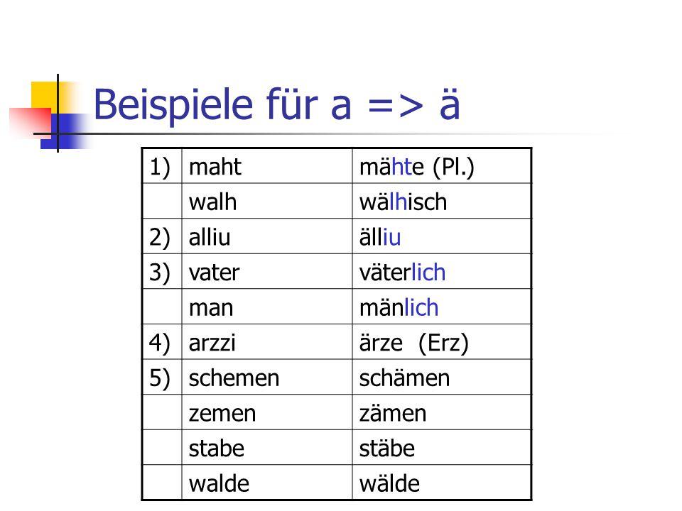 5 Regeln wann /a/ zu /ä/ wird 1) So erscheint erstens der Sekundärlaut /ä/ vor einigen Konsonanten, die eine umlauthemmende Wirkung hatten.