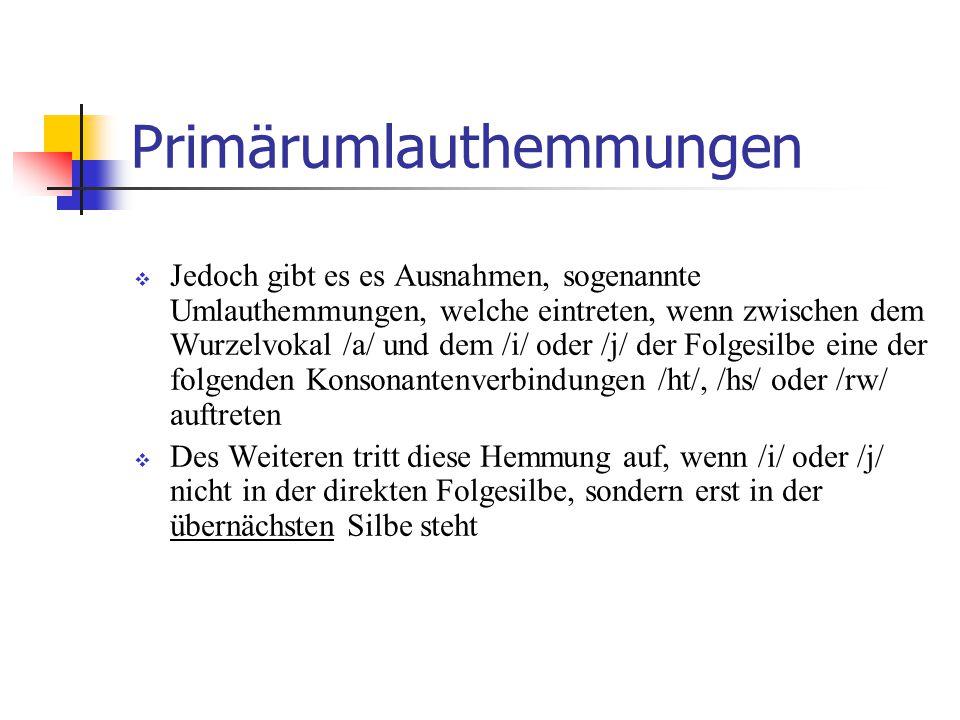 Umlautloses Präteritum bei einigen schwachen Verben (sog. Rückumlaut)