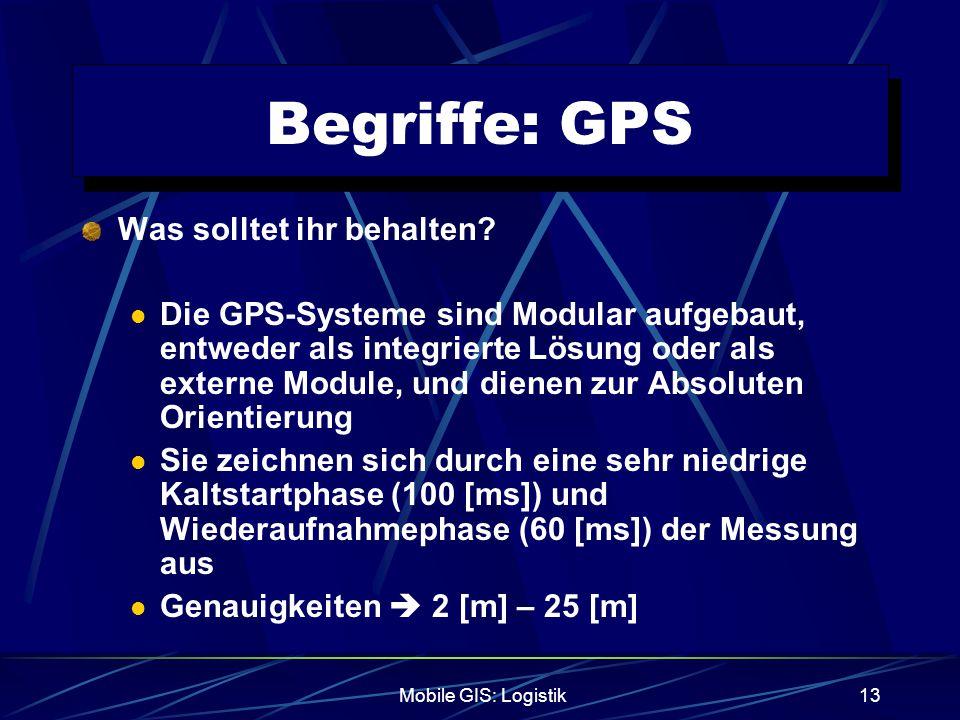 Mobile GIS: Logistik13 Begriffe: GPS Was solltet ihr behalten? Die GPS-Systeme sind Modular aufgebaut, entweder als integrierte Lösung oder als extern