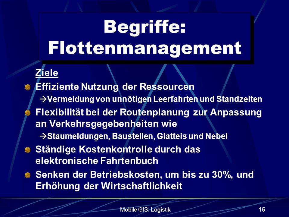 Mobile GIS: Logistik15 Begriffe: Flottenmanagement Ziele Effiziente Nutzung der Ressourcen  Vermeidung von unnötigen Leerfahrten und Standzeiten Flex