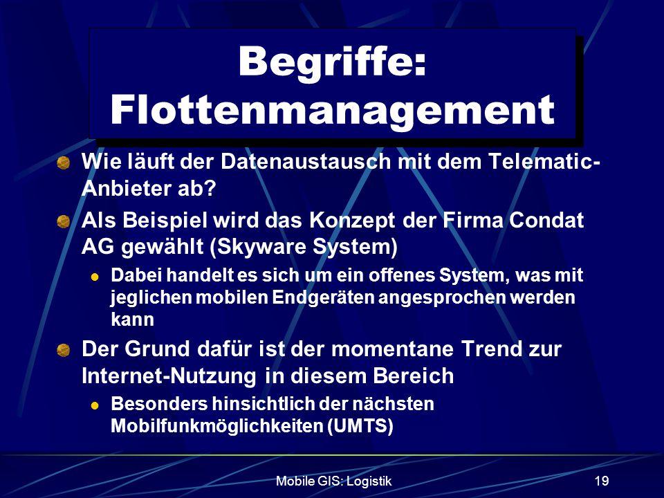Mobile GIS: Logistik19 Begriffe: Flottenmanagement Wie läuft der Datenaustausch mit dem Telematic- Anbieter ab? Als Beispiel wird das Konzept der Firm